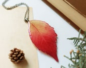 Dried leaf necklace, Red leaf necklace, Multicolor necklace, Original necklace, Gift ideas for wife, Red leaf jewelry, Original gift for her