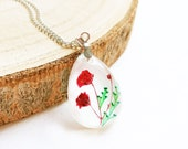 Poppy necklace, Red poppy necklace, gift for mother ideas, Poppy jewelry, Poppy flower necklace, Pressed flower jewelry, Red flower necklace