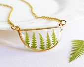 Real fern necklace, Terrarium necklace, Half circle gold necklace, Christmas gift ideas for women, Pressed plant jewelry, Resin fern jewelry
