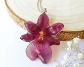 Orchid Necklace, Purple Orchid Necklace, Gift for Girlfriend, Real orchid pendant, Real flower necklace, Orchid Lovers gift, Orchid jewelry