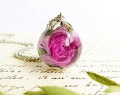 Purple rose necklace, Dry rose necklace, Purple flower necklace, Rose bud necklace, Special gift for women, Rose bud jewelry, Resin necklace