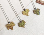 Friendship necklace, Real leaf necklace, Best friend necklace, Botanical resin necklace, Ivy jewelry, Distance best friend gift Bff necklace