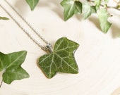 Real leaf necklace, Pressed ivy leaf necklace, Nature resin jewelry, Mountain necklace, Adventure gifts, Wanderlust jewelry, Travel necklace