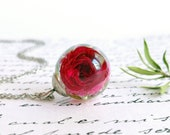 Dried rose bud necklace, Tiny rose necklace, Small rose necklace, Romantic gifts for her, Red rose necklace, Rose bud jewelry, Rose necklace