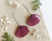 Petal flower earrings, Pressed flower petal earrings, Petal poppy earrings, Dangle drop earrings, Poppy flower earring,  Boho flower jewelry