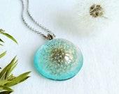 Sky blue necklace, Real dandelion pendant, Turquoise flower pendant, December necklace, Sky blue jewelry, December birthday gift for her
