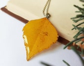 Fall leaf necklace, Dried leaf necklace, Autumn necklace, Yellow leaf necklace, Autumn leaf necklace,  Mother's Day gift, Fall jewelry