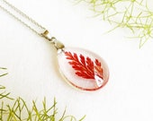 Red leaf jewelry, Real fern leaf necklace, Crystal resin necklace, Tiny leaf necklace, Crystal jewelry for women, Transparent resin necklace