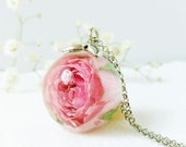 Pink rose necklace, Real rose necklace, Rose resin necklace, Pink flower necklace, Light pink necklace, Special gift for her Rosebud jewelry