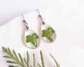 Ivy earrings, Leaf resin earrings, Nature inspired earrings, Clear teardrop earrings, Nature inspired gift for her, Botanical resin earrings