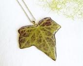 Real leaf necklace, Ivy necklace, Long leaf necklace, Woodland jewelry, Ivy leaf pendant Pressed leaf jewelry Leaf jewelry Botanical pendant