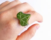 Real leaf ring, Ivy leaf jewelry, Stainless steel ring, Vintage leaf ring, Ivy plant jewelry, Pressed leaf ring, Ivy ring, Real leaf jewelry