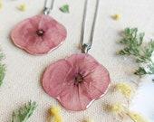 Wildflower resin necklace, Wild poppy necklace, Dried poppy flower jewelry, Birthday gift for mother, Pink flower necklace, Wildflower gift
