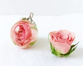 Rose flower necklace, Real rosebud necklace, Gift for mother day, Rose pink necklace, Unique floral necklace, Flower gift idea, Rose jewelry