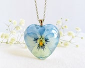 Real pansy necklace, Pansy flower necklace, Pressed flower jewelry, Heart flower necklace, Viola necklace, Bridesmaid gift, Pansy jewelry