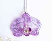Real orchid necklace, Gift for mom birthday, Real flower necklace, Orchid jewelry Phalaenopsis flower Purple flower necklace Gift for mother
