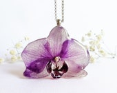 Orchid pendant, Real orchid pendant, Floral necklace, Dried orchid necklace, Lilac flower jewelry, Floral resin jewelry, Mother in law gifts
