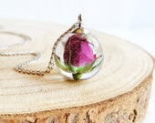 Tiny Rose Necklace, Real rose necklace, Flower resin necklace, Unique gift for her, Real flower necklace, Pink rose jewelry Rosebud necklace