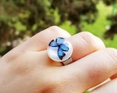 Blue butterfly ring, Morpho butterfly ring, Tiny butterfly ring, Butterfly jewelry, Adjustable Ring, Dainty butterfly jewelry, Gifts for her