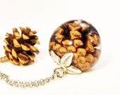 Real Pine Cone Necklace, Pine cone resin necklace, Forest Necklace, Pinecone tree jewelry, Woodland jewelry, Pinecone pendant, Unisex gifts