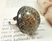 Dandelion ring, Dandelion resin ring, Black resin ring, Eco resin jewelry, Boho black ring, Adjustable black ring Bohemian ring Gift for her