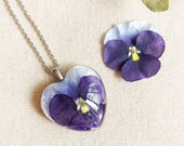 Pansy necklace, Real flower jewellery, Purple flower necklace, Heart shaped necklace, Real pansy jewelry Violet necklace Gift for girlfriend