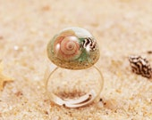 Real seashells ring, Sand jewelry, Terrarium ring, Mermaid ring, Real seashells jewelry, Shells ring, Mermaid gift for women, Resin jewelry