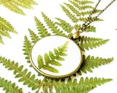 Fern Necklace, Pressed Fern necklace, Double sided necklace, Dried fern necklace, Antique bronze jewelry, Fern leaf necklace, Forest pendant