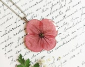 Poppy pendant, Pressed poppy necklace, Remembrance necklace, Gifts for mother birthday, Remembrance gifts, Poppy flower necklace, Poppy gift