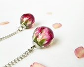Dried rosebud necklace, Minimalist rose necklace, Feminine necklace Real rosebud jewelry, Pink rosebud necklace, Dried flower charm necklace