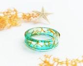Mermaid resin ring, Dried plant ring, Aqua resin ring, Beach resin ring, Stacking ring, Mermaid gifts for women, Thumb ring, Mermaid jewelry