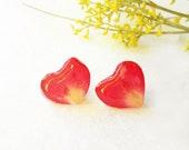 Rose petal earrings, Heart earrings stud, Real flower stud earrings, Special gift for girlfriend Unique Romantic Gift Pressed flower jewelry
