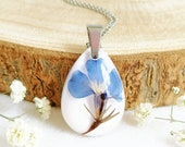 Pressed blue lobelia necklace, Birth Flower Necklace, Special gift for her, Meaning Jewelry, Inspirational gift for daughter Meaningful Gift