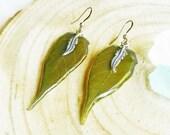 Pressed leaf earrings, Leaf dangle earrings, Long boho earrings, Pressed leaf jewelry, Boho hippie earrings Gift for her Dark green earrings