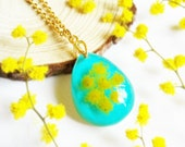 Real flower necklace gold, Blue teardrop necklace, Yellow flower necklace, Mimosa jewelry, Dried flower necklace, Dainty teardrop necklace