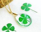 Four Leaf Clover Necklace, Real clover jewelry Lucky clover jewelry Good luck gift 4 leaf clover jewelry Birthday gift Clover resin necklace