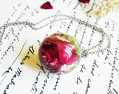 Real rosebud necklace, Dried rose jewelry, Gift for girlfriend, Real flower pendant, Rosebud necklace, Birthday gift for her, Rose necklace