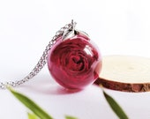 Rose resin pendant, Dried rose resin necklace, Real rose flower jewelry, Christmas gift for mom, Resin sphere rose necklace, Resin pendant