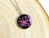 Queen Annes Lace Flower Necklace, Pressed flower pendant, Pink flower necklace, Little flower necklace, Stainless steel jewelry, Teens gifts
