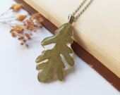 Oak leaf necklace, Real oak leaf necklace, Nature jewelry for men, Unisex necklace, Unique gift for him, Oak jewelry, Boho style necklace