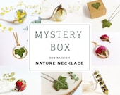 Mystery box jewelry, Mystery necklace, Nature resin necklace, Surprise box jewelry, Self gift, Botanical necklace, Real flower resin jewelry