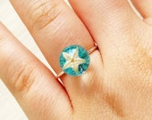 Minimalist ring silver, Real starfish ring Dainty aquamarine ring Minimalist jewelry Aquamarine solitaire ring Starfish jewelry Mermaid ring