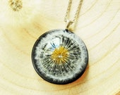 Dandelion necklace, Real flower jewelry, Dried flower necklace, Dandelion wish necklace, Good luck gift, Dandelion seed jewelry Gift for her