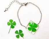 Real four leaf clover bracelet, Lucky charm bracelet, Resin bracelet, Clover jewelry, Good luck bracelet, Botanical bracelet Graduation gift