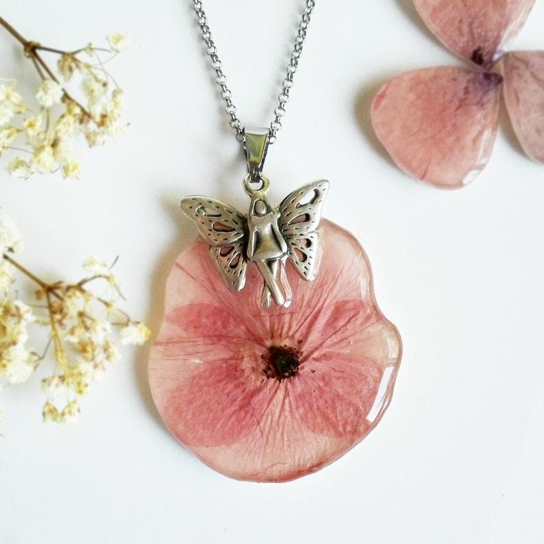 90c036f1b611 Collar flor de amapola Flores secas prensadas-Joyería de flor