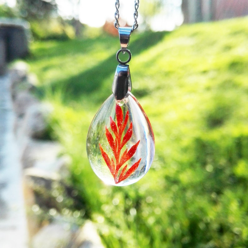 Real fern leaf necklace Crystal jewelry for women Tiny leaf necklace Crystal resin necklace Transparent resin necklace Red leaf jewelry