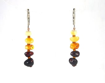 Fine Amber Earrings Mixed colors Beaded 2 g