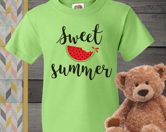 fde35bda4 FREE SHIPPING, Sweet Summer, Kiwi Green Tee, Unisex Youth Short Sleeve Shirt,  Gift For Grandchildren, Youth, Kids Tee, Green Shirt, Melon
