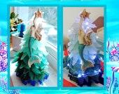 11 Mermaid princes-surf tumbled ombré sea glass. Cobalt, aqua, sea foam,White Sea glass Christmas tree starfish free shipping special order
