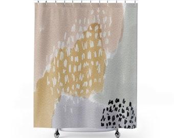Artsy Shower Curtain Curtains Boho Modern Watercolor Watercolour Bath Tub